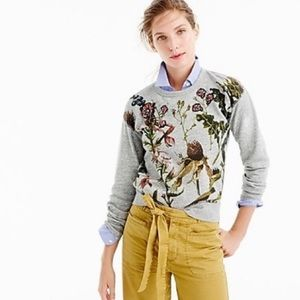 J. CREW Botanical Floral Jeweled Sweatshirt MEDIUM